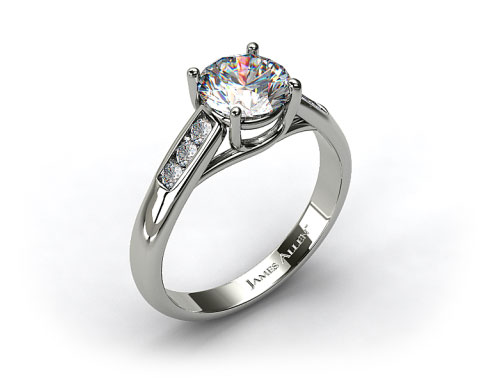 18k White Gold Cross Prong Cathedral Style Diamond Engagement Ring